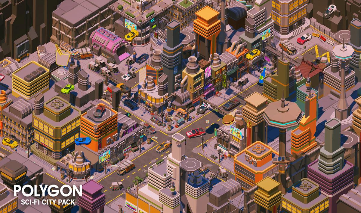 00f515bf 7fe0 4131 b734 f5874516741c scaled - Unity低聚科幻城市角色车辆模型包POLYGON - Sci-Fi City Pack 1.18