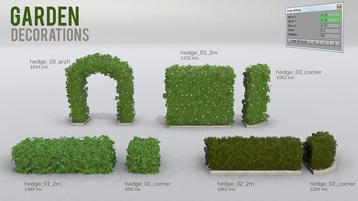 400a88c1 291a 44d3 afee e3773f1c9694 scaled - Unity3D树篱泳池设备花园装饰模型:Garden Decorations v1.3