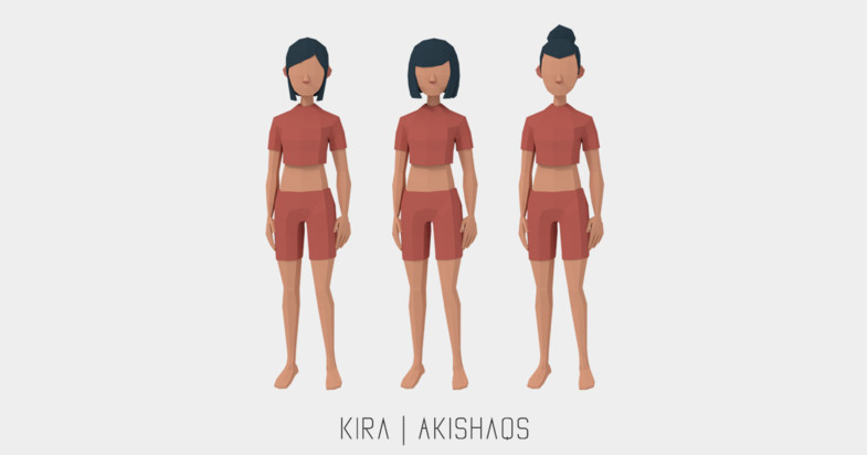 dd90e62c faff 4696 9a88 0e74b1f05cb2 scaled - Kira Lowpoly Character v2.1 - Unity低聚人物模型